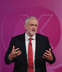 Labour leader Jeremy Corbyn taking part in BBC1's Question Time Leaders Special presented by David Dimbleby from the campus of the University of York.