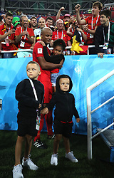KALININGRAD, June 28, 2018  Photo taken on June 28, 2018 shows Vincent Kompany of Belgium and his children after the 2018 FIFA World Cup Group G match between England and Belgium in Kaliningrad, Russia. Belgium won 1-0. England and Belgium advanced to the round of 16. (Credit Image: © Xu Zijian/Xinhua via ZUMA Wire)