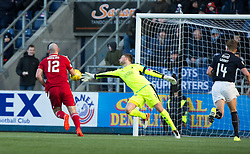 Ayr United's Gary Harkins goes past Falkirk's keeper Danny Rogers to score. Falkirk 1 v 1 Ayr United, Scottish Championship game played 14/1/2017at The Falkirk Stadium .