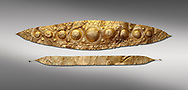 Mycenaean Gold diadems from Grave IV, Grave Circle A, Myenae, Greece. National Archaeological Museum Athens. 16th Cent BC. Grey Background<br /> <br /> Top: Mycenaean Gold diadem with repousse circles and rosettes Cat No 232<br /> <br /> Bottom: Elegant Mycenaean gold daidem with fastening loops and dotted decoration. Three diamond shaped pendant hung from chains. Cat no 236. .<br /> <br /> If you prefer to buy from our ALAMY PHOTO LIBRARY  Collection visit : https://www.alamy.com/portfolio/paul-williams-funkystock/mycenaean-art-artefacts.html . Type -   Athens    - into the LOWER SEARCH WITHIN GALLERY box. Refine search by adding background colour, place, museum etc<br /> <br /> Visit our MYCENAEN ART PHOTO COLLECTIONS for more photos to download  as wall art prints https://funkystock.photoshelter.com/gallery-collection/Pictures-Images-of-Ancient-Mycenaean-Art-Artefacts-Archaeology-Sites/C0000xRC5WLQcbhQ