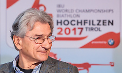 "02.11.2016, Biathlonarena, Hochilzen, AUT, IBU Weltmeisterschaft Biathlon, Hochfilzen, Pressekonferenz 100 Tage, im Bild Dr. Klaus Leistner (Generalsekretär ÖSV und Vizepräsident IBU) // Dr. Klaus Leistner (Secretary-General ÖSV and Vice-President IBU) during a Pressconference ""100 Days"" in front of the IBU Biathlon World Championships 2017 at the Biathlonarena, Hochfilzen, Austria on 2016/11/02. EXPA Pictures © 2016, PhotoCredit: EXPA/ JFK"