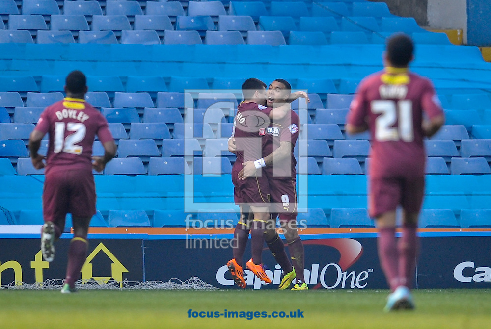 Troy Deeney (2nd R) of Watford celebrates making it 4-0 during the Sky Bet Championship match at Hillsborough, Sheffield<br /> Picture by Richard Land/Focus Images Ltd +44 7713 507003<br /> 29/03/2014