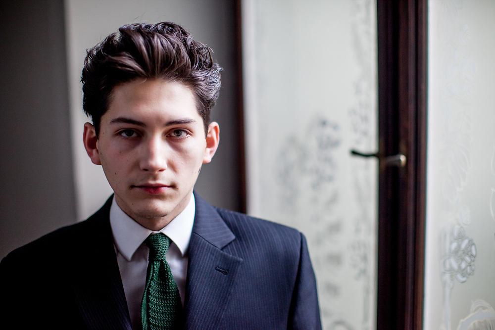 """Franz Kafka """"Doppelgänger"""" Marek Lentvorsky (21) portrayed at the Goethe Institut Prag."""