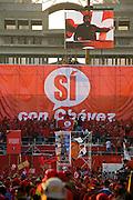 President of Venezuela, Hugo Chavez, addresses crowds at a demonstration in favor of proposed constitutional reforms giving him more power in Caracas, Venezuela in November 2007.