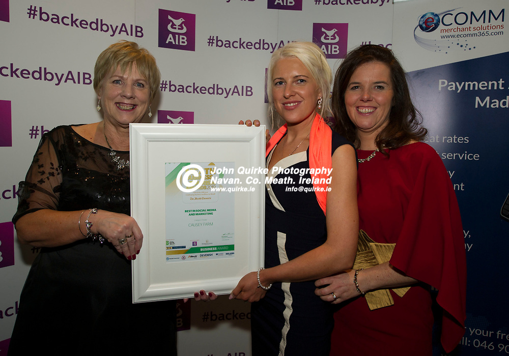 15-11-19. Meath Business and Tourism Awards 2019 at Dunboyne Castle, Hotel.<br /> Best in Social Media & Marketing Nomination - Causey Farm.<br /> L to R: Patricia Halleran, Meath Chronicle, Geraldine Brady and Della Murtagh, Causey Farm.<br /> Photo: John Quirke / www.quirke.ie<br /> ©John Quirke Photography, Unit 17, Blackcastle Shopping Cte. Navan. Co. Meath. 046-9079044 / 087-2579454.