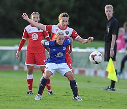 Everton ladies Vicky Jones shields the ball from Bristol Academy's Natalia Pablos Sanchon - Photo mandatory by-line: Alex James/JMP - Mobile: 07966 386802 23/08/2014 - SPORT - FOOTBALL - Bristol  - Bristol Academy v Everton Ladies - FA Women's Super league