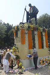 October 2, 2018 - Kolkata, West Bengal, India - West Bengal Governor Kehsari Nath Tripathi pays tribute Mahatma Gandhi to commemorate his 149th birth anniversary. (Credit Image: © Saikat Paul/Pacific Press via ZUMA Wire)