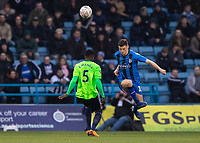 Football - 2018 / 2019 FA Cup - Third Round: Gillingham vs. Cardiff City<br /> <br /> Callum Reilly (Gillingham FC) hoists the ball clear from an in rushing Bruno Ecuele Manga (Cardiff City) at Priestfield Stadium.<br /> <br /> COLORSPORT/DANIEL BEARHAM