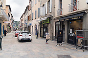 shoppers waiting outside portrait during Covid 19 crisis France Limoux April 2020