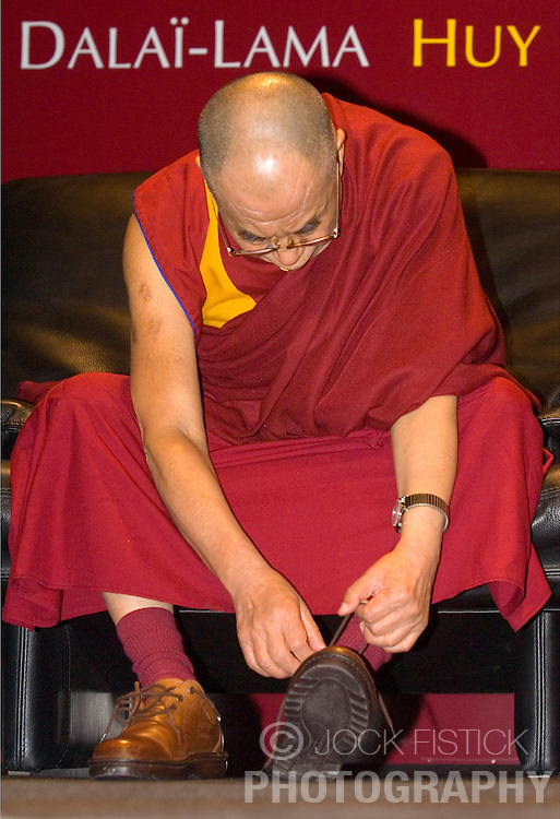 """HUY, BELGIUM - MAY-30-2006 - The Dalai Lama participates in a symposium with Belgium's top religious leaders at the Cultural Center of Huy. The title of the discussion was """"Strategies for Mutual Understanding Between Countries"""". (PHOTO © JOCK FISTICK)"""