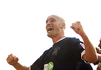 Photo: Chris Ratcliffe.<br />Southend United v Sunderland. Coca Cola Championship. 19/08/2006.<br />Adam Barrett of Southend celebrates scoring the first Southend  goal.