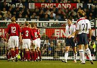 Photograph: Scott Heavey.<br />England v Denmark. International Friendly. 16/11/2003.<br />The England team contemplate after going 2-3 down in the second half