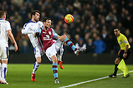 Christian Fuchs of  Leicester city (l) challenges Libor Kosak of Aston Villa. Barclays Premier league match, Aston Villa v Leicester city at Villa Park in Birmingham, The Midlands on Saturday 16th January 2016.<br /> pic by Andrew Orchard, Andrew Orchard sports photography.