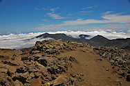 The rocky 10,000 ft. summit of Mt. Haleakala, House of the Sun, on Maui. .Mt. Haleakala is considered to be a semi-dormant volcano and features a 7 mile wide crater.