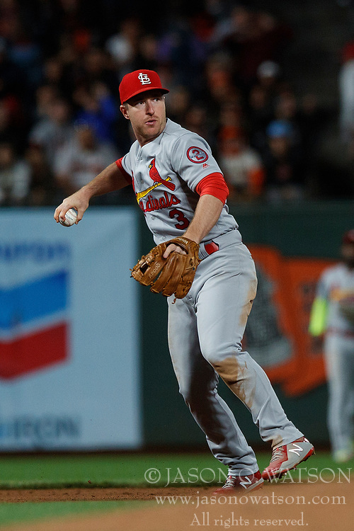 SAN FRANCISCO, CA - JULY 06: Jedd Gyorko #3 of the St. Louis Cardinals throws to first base against the San Francisco Giants during the eighth inning at AT&T Park on July 6, 2018 in San Francisco, California. The San Francisco Giants defeated the St. Louis Cardinals 3-2. (Photo by Jason O. Watson/Getty Images) *** Local Caption *** Jedd Gyorko
