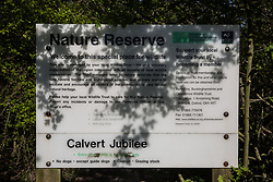 Calvert, UK. 26th April, 2021. A sign outside Calvert Jubilee Nature Reserve. Calvert has been particularly badly impacted by HS2 infrastructure project work because of its position close to the intersection between HS2 and East West Rail and a large section of Calvert Jubilee Nature Reserve has been destroyed.