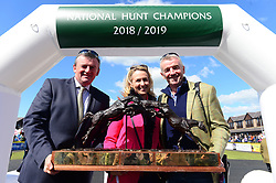 Presentation 2018-2019 National Hunt Awards Champion Owner, Gigginstown Stud Micheael and Anita O'Leary with Eddie O'Leary during day five of the Punchestown Festival at Punchestown Racecourse, County Kildare, Ireland.