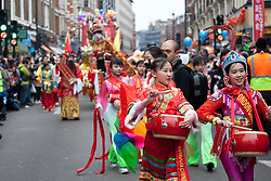 © licensed to London News Pictures. London, UK. 29/01/12. Celebrations in the streets of central London on January 29th, 2012 to celebrate the Chinese New Year, the year of the Dragon. Photo credit: Tolga Akmen/LNP