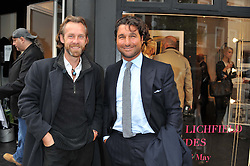Left to right, JOTH SHAKERLEY and GIORGIO VERONI at a private view of the late Patrick Lichfield: Nudes at The Little Black gallery, 13A Park Walk, London SW10 on 26th April 2012.