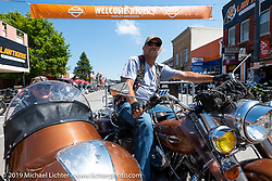 Grinch Goodnight and his wife Jo-Jo on Main Street with their 1977 Harley-Davidson Electraglide with a 1940 Goulding sidecar during the Sturgis Black Hills Motorcycle Rally. SD, USA. Saturday, August 10, 2019. Photography ©2019 Michael Lichter.Sturgis Main Street during the Grinch Goodnight and his wife Jo-Jo on Main Street with their 1977 Harley-Davidson Electraglide with a 1940 Goulding sidecar during the Sturgis Black Hills Motorcycle Rally. SD, USA. Saturday, August 10, 2019. Photography ©2019 Michael Lichter.