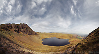 Stickle Tarn & Pavey Ark Panorama, seen from half way up Harrison Stickle, Lake District, Cumbria, UK