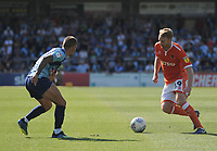 Blackpool's Chris Taylor under pressure from Wycombe Wanderers' Michael Harriman<br /> <br /> Photographer Kevin Barnes/CameraSport<br /> <br /> The EFL Sky Bet League One - Wycombe Wanderers v Blackpool - Saturday 4th August 2018 - Adams Park - Wycombe<br /> <br /> World Copyright © 2018 CameraSport. All rights reserved. 43 Linden Ave. Countesthorpe. Leicester. England. LE8 5PG - Tel: +44 (0) 116 277 4147 - admin@camerasport.com - www.camerasport.com