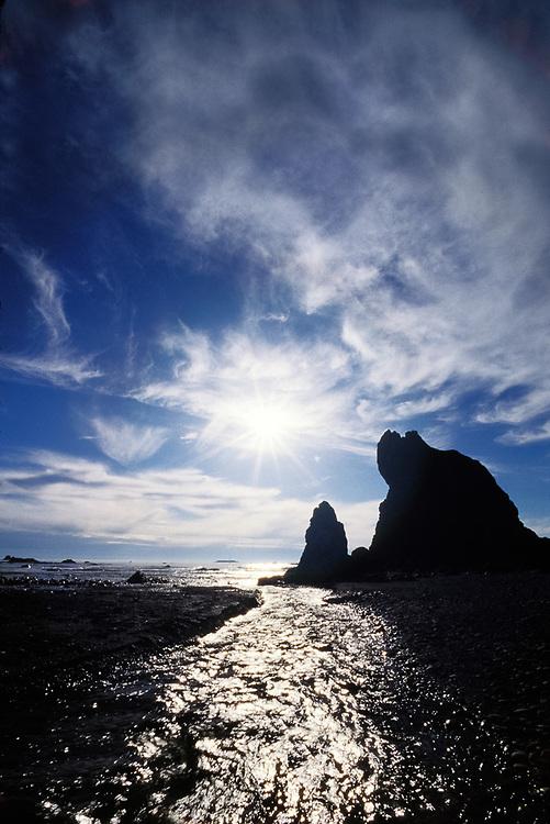 Cedar Creek, afternoon light, Ruby Beach, Pacific Ocean coastline, Olympic National Park, Washington, USA