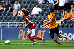 Han-Noah Massengo of Bristol City takes on Kevin Stewart of Hull City - Mandatory by-line: Robbie Stephenson/JMP - 24/08/2019 - FOOTBALL - KCOM Stadium - Hull, England - Hull City v Bristol City - Sky Bet Championship