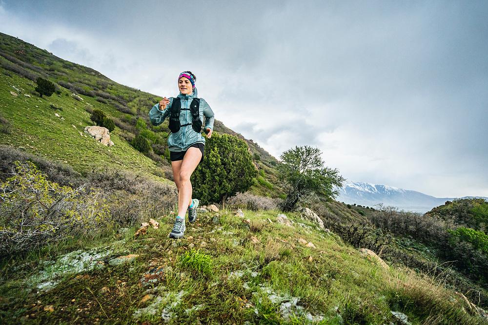 Hillary Gerardi running the Bonneville Shoreline Trail, Salt Lake City, Utah.