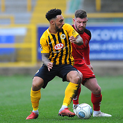 TELFORD COPYRIGHT MIKE SHERIDAN 2/3/2019 - Steph Morley of AFC Telford battles for the ball with Jay Rollins of Boston during the National League North fixture between Boston United and AFC Telford United at the York Street Jakemans Stadium