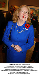 ELEANOR LAING MP at a reception in London on 6th November 2003.POH 148