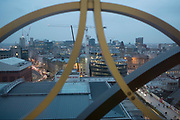 View across Birmingham City Centre from the new Birmingham Library rooftop in Birmingham, United Kingdom.