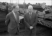 23/09/1963<br /> 09/23/1963<br /> 23 September 1963<br /> Minister sees advances in peat productivity by Bord na Mona at Timahoe, Co. Kildare. Picture shows the Minister for Transport and Power, Mr Erskine Childers (left) inspecting an automatic sod collector at Timahoe turf works, during his end of season visit to Bord na Mona installations. On right is Mr Dermot Lawlor, Managing Director, Bord na Mona.