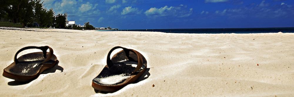 Seven mile beach Grand Cayman. Sandy beach, vacation, relaxation.