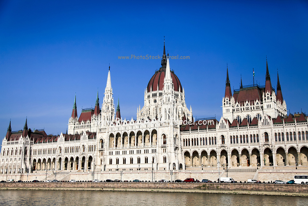 Eastern Europe, Hungary, Budapest, Parliament Building as seen from the Danube river
