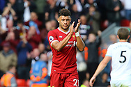Alex Oxlade-Chamberlain of Liverpool applauds the fans at the end of the game. Premier League match, Liverpool v Burnley at the Anfield stadium in Liverpool, Merseyside on Saturday 16th September 2017.<br /> pic by Chris Stading, Andrew Orchard sports photography.