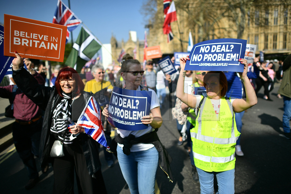 © Licensed to London News Pictures. 29/03/2019. London, UK. Supporters of Brexit gather in Parliament square where March for Leave has completed it's final leg of a mass walk from Sunderland. MPs will later vote on the withdrawal agreement, which sets out the terms of the UK's departure from the EU. Photo credit: Ben Cawthra/LNP