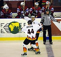 Icehockey. Qualification Olympic Games. Norway-Germany 8 january 2001. Norge-Tyskland, Jordal Amfi.  Klaus Kathan and  Thomas Greilinger, Germany.