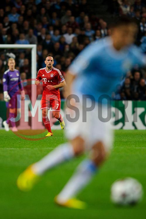 Bayern Midfielder Franck Ribery (FRA) looks on as Man City Midfielder Jesus Navas (ESP) breaks during the first half of the match - Photo mandatory by-line: Rogan Thomson/JMP - Tel: Mobile: 07966 386802 - 02/10/2013 - SPORT - FOOTBALL - Etihad Stadium, Manchester - Manchester City v Bayern Munich - UEFA Champions League Group D.