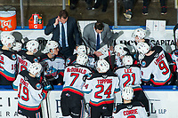 KELOWNA, BC - JANUARY 24: Kelowna Rockets' Head coach Adam Foote and assistant coach Vernon Fiddler go over a play on the bench during a time out ]against the Seattle Thunderbirds at Prospera Place on January 24, 2020 in Kelowna, Canada. (Photo by Marissa Baecker/Shoot the Breeze)