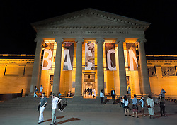 exterior of Art Gallery of New South Wales at night in Sydney Australia