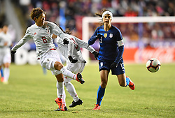 February 27, 2019 - Chester, PA, U.S. - CHESTER, PA - FEBRUARY 27: Japan Defender Saori Ariyoshi (6) clears the ball away from US Forward Alex Morgan (13) in the first half during the She Believes Cup game between Japan and the United States on February 27, 2019 at Talen Energy Stadium in Chester, PA. (Photo by Kyle Ross/Icon Sportswire) (Credit Image: © Kyle Ross/Icon SMI via ZUMA Press)