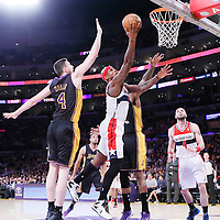 21 March 2014: Washington Wizards forward Al Harrington (7) goes for the layup past Los Angeles Lakers forward Jordan Hill (27) and Los Angeles Lakers forward Ryan Kelly (4)during the Washington Wizards 117-107 victory over the Los Angeles Lakers at the Staples Center, Los Angeles, California, USA.