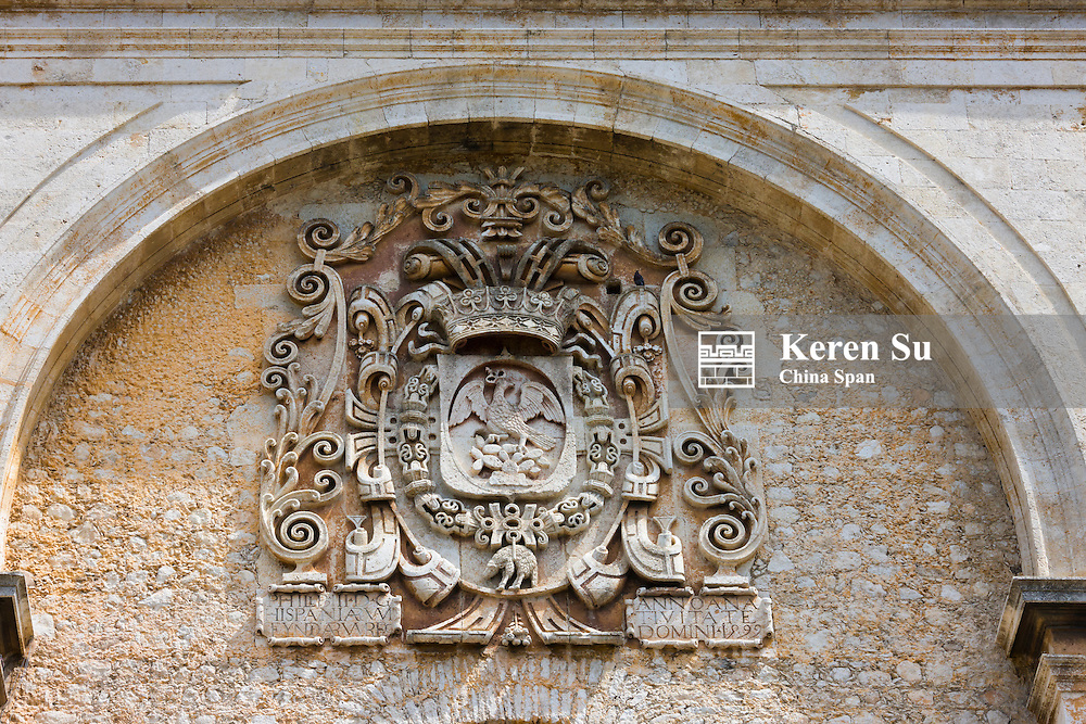 Carving on the entrance of Merida Cathedral, Merida, Yucatan State, Mexico