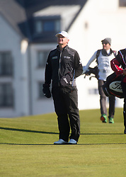 Paul Lawrie playing the first hole. Alfred Dunhill Links Championship this morning at Championship Course at Carnoustie.