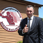 CANASTOTA, NY - JUNE 10:  2018 inductee Vitali Klitschko poses prior to the 2018 induction ceremony at the International Boxing Hall of Fame for the Weekend of Champions event on June 10, 2018 in Canastota, New York. (Photo by Alex Menendez/Getty Images) *** Local Caption *** Vitali Klitschko