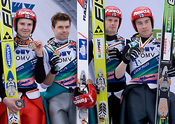 Third team of Finland, from L: OLLI Harri, HAUTAMAEKI Matti, MUOTKA Olli and HAPPONEN Janne during medal ceremony after Flying Hill Team Second Round at 4th day of FIS Ski Flying World Championships Planica 2010, on March 21, 2010, Planica, Slovenia.  (Photo by Vid Ponikvar / Sportida)