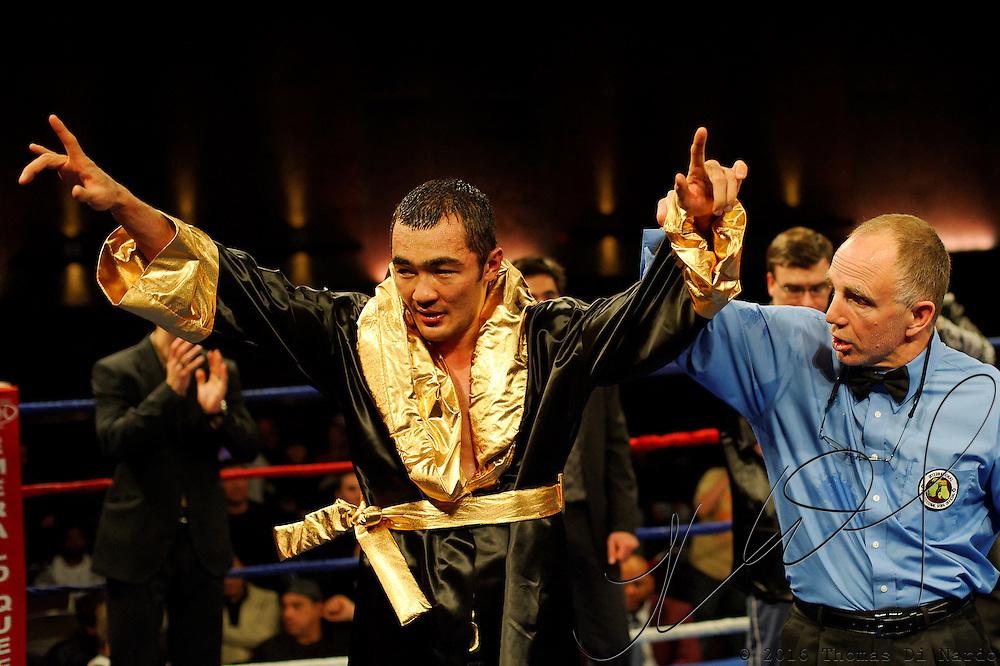 Beibut Shumenov celebrates his unanimous decision victory over Epifanio Mendoza at the Meidenbauer Center in Bellevue, WA on December 13, 2008.