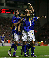 Photo: Paul Thomas.<br /> Liverpool v Cardiff City. Carling Cup. 31/10/2007.<br /> <br /> Darren Purse (5) and Cardiff celebrate his goal.