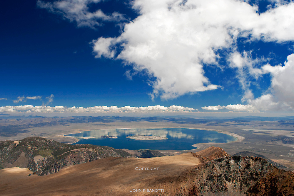 Mt. Dana is about twice the elevation of Mono Lake, and sits near the Tioga Pass entrance to Yosemite National Park.